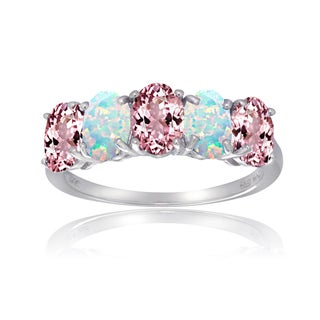 Glitzy Rocks Sterling Silver Created Opal and Pink Tourmaline 5-stone Ring