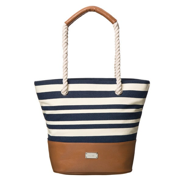 Nine West Paige Stripe Canvas Tote