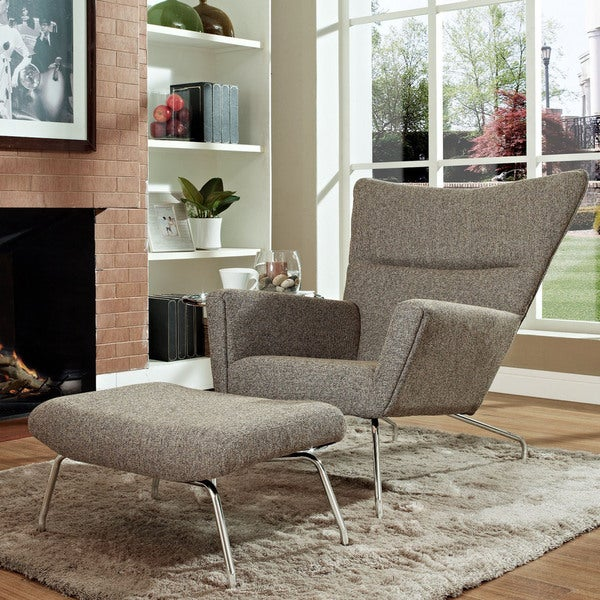 Original Style Oatmeal Wing Chair and Ottoman