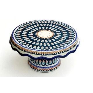Polish Stoneware Cotton Candy Cake Plate Stand (Poland)