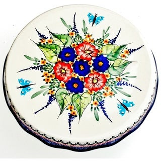 Polish Stoneware Butterfly Cake Plate (Poland)