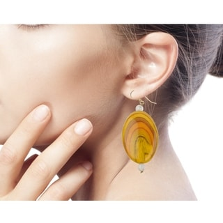 Handcrafted Recycled Plastic 'Odopa in Yellow' Beaded Earrings (Ghana)