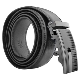 Insten Black Carbon Fiber 51-inch Men Automatic Buckle Genuine 100% Leather Belt with Gift Box Package