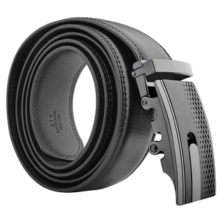 Zodaca Black Carbon Fiber 51-inch Men Automatic Buckle Genuine 100% Leather Belt with Gift Box Packa