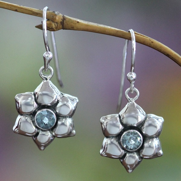 Sterling Silver 'Narcissus of December' Topaz Earrings (Indonesia)