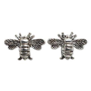 Handcrafted Sterling Silver 'Happy Honeybee' Earrings (Thailand)