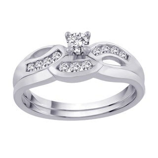 14K White Gold 1/3ct TDW Diamond Bridal Ring Set (G-H, SI1-SI2)