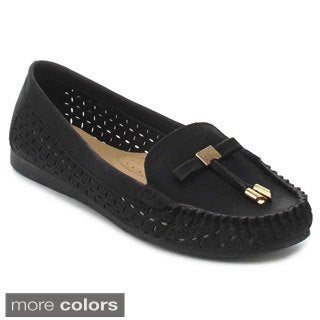Nature Breeze Mindie-28 Women's Stitched Lasercut Penny Loafers