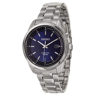 Seiko Men's SKA675 Stainless Steel Blue Dial Kinetic Watch