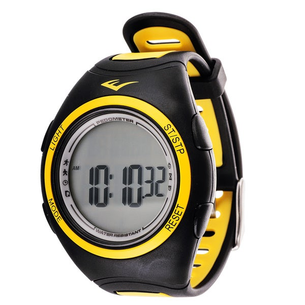 Everlast PD1 Pedometer Yellow Silicone Strap Sport Round Watch
