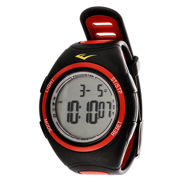 Everlast PD1 Pedometer Red Silicone Strap Sport Round Watch
