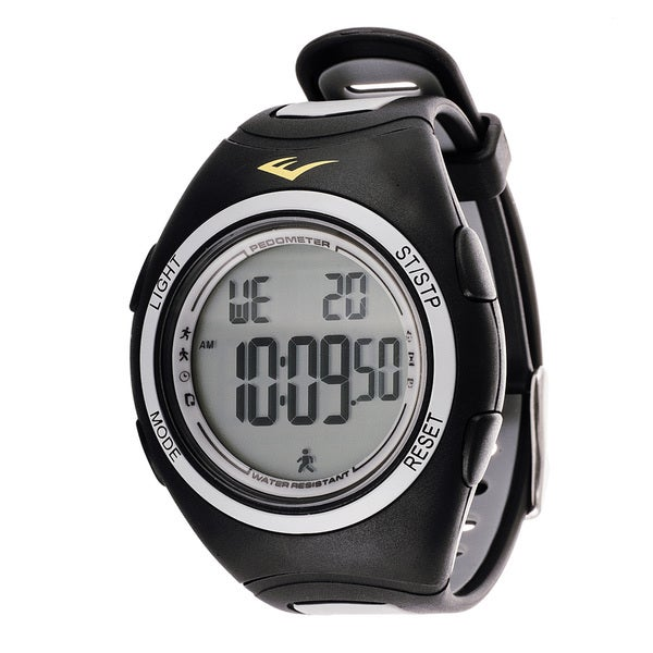Everlast Men's PD1 Pedometer Black Silicone Strap Digital Watch