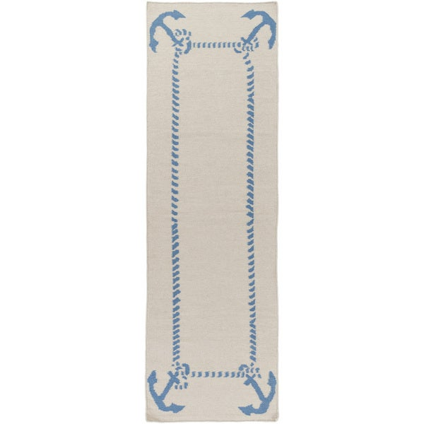 Somerset Bay :Hand-Woven Estelle Coastal Wool Rug (2'6 x 8')