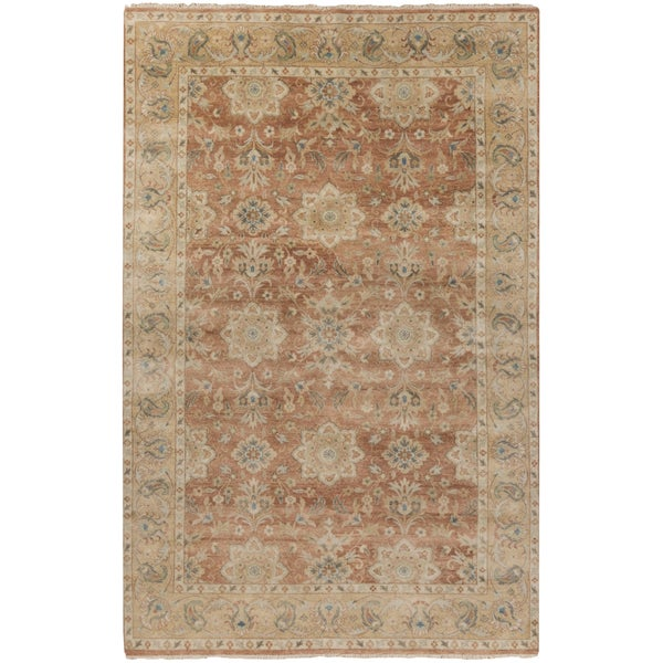 Hand-Knotted Bryn Border New Zealand Wool Rug (3'9 x 5'9)