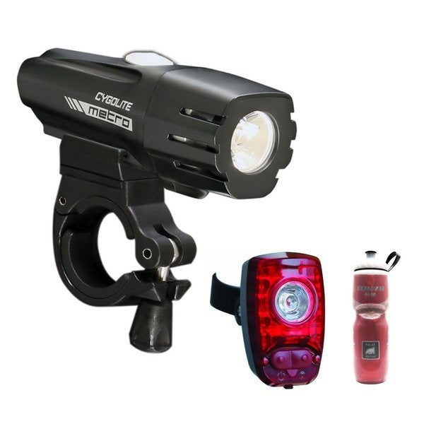 Cygolite Metro 550 USB Rechargeable Headlight with Cygolite Hotshot 2-Watt USB Rechargeable Tail Light and 24-Ounce Water Bottle