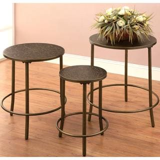 Decorative Hammered Metal 3-piece Nesting Tables