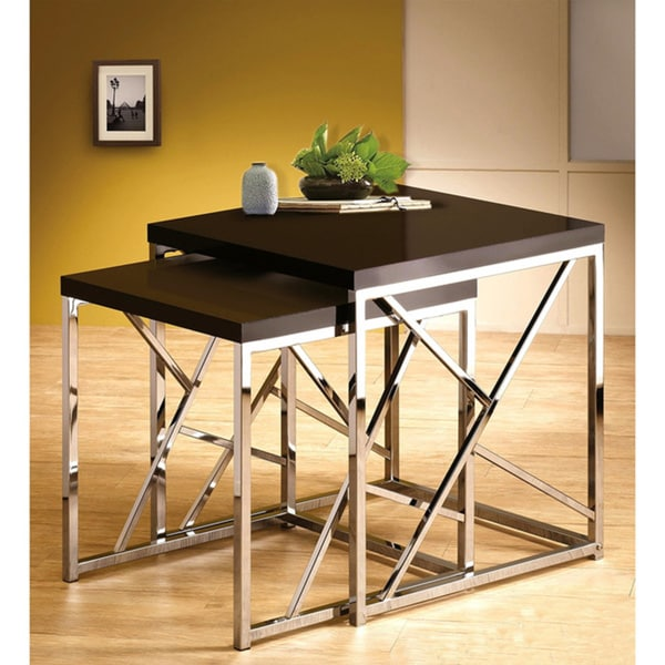 Modern 2-piece Chrome Nesting Tables with Decorative Cross Bars