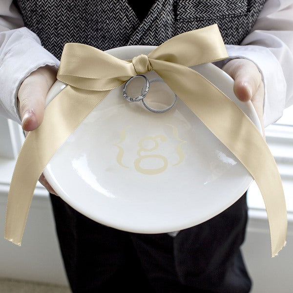 Gold Accented Personalized Wedding Ring Dish