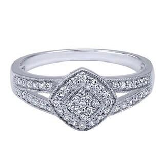 14k White Gold 1/5 TDW Diamond Kite Ring (H-I, I1-I2)