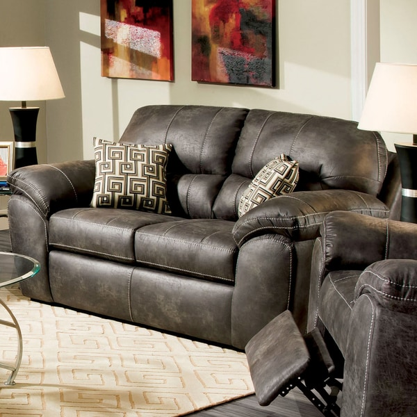 Furniture of America Andres Transitional Charcoal Loveseat