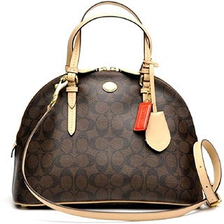 Coach '26184' Dark Brown Canvas Satchel