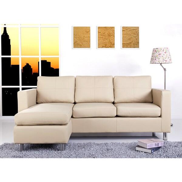 abbyson living bella cream pu leather sofa sectional 17080053