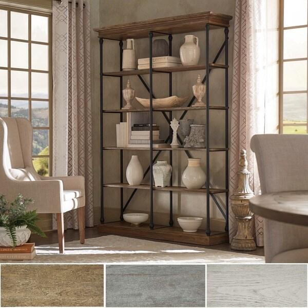 INSPIRE Q Barnstone Cornice Brown Oak Driftwood Double Shelving Bookcase