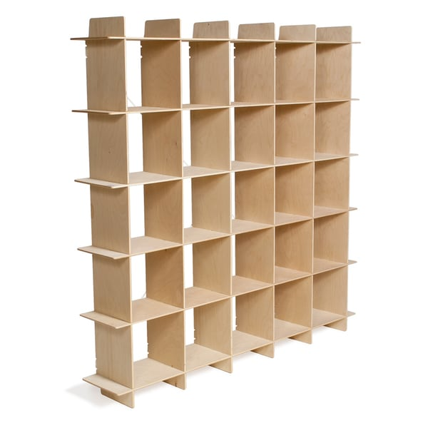 25-cubby Mid Century Baltic Birch Bookcase