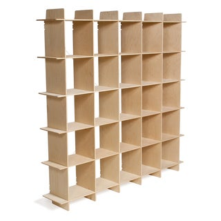 Mid-century 25 Cube Raw Baltic Birch Storage Bookcase