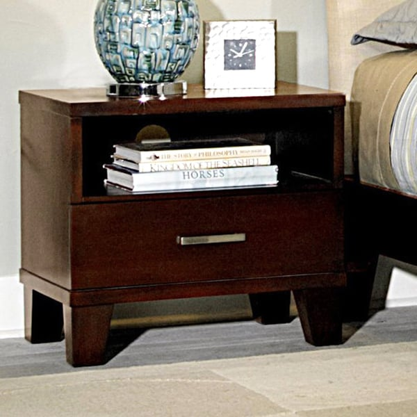 Evianna Dark Spice Brown 1-drawer 1-shelf Nightstand