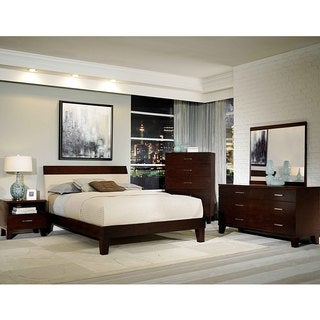 Evianna Dark Spice Brown Platform 5-piece Bedroom Set with Upholstered Headboard