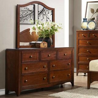 Wynter Classic Mahogany Oak 7-drawer Dresser and Mirror Set
