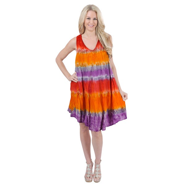 Tie-dye Printed Chiffon Beach Dress (One size)