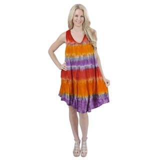 La Leela RAYON HAND Tie Dye Embroidered Designer Casual Short Beach Dress Orange