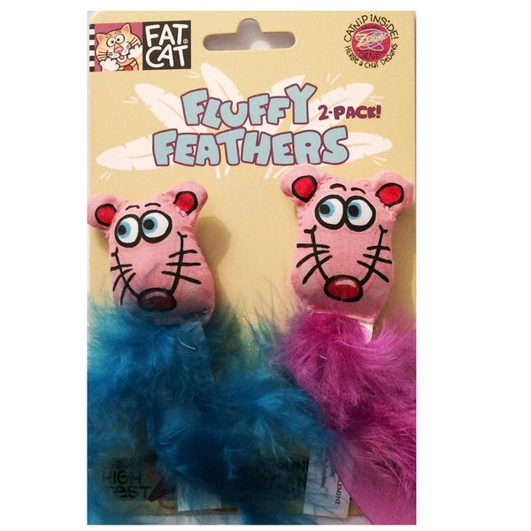 Fat Cat 4-inch Fluffy Feathers Mice Cat Toys