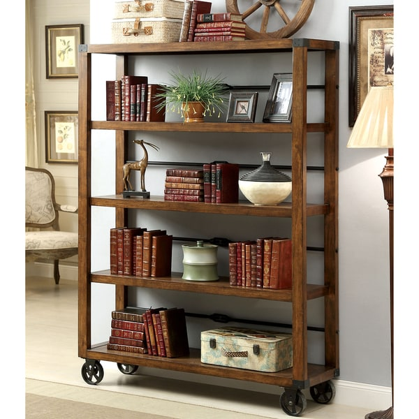 Furniture of america taurin industrial 5 tier bookshelf for Furniture of america nara contemporary 6 shelf tiered open bookcase