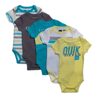 Quicksilver Newborn Boys Green and Aqua 5-piece Body Suit Set