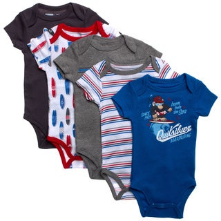 Quicksilver Newborn Boys Grey Theme 5-piece Bodysuit Set