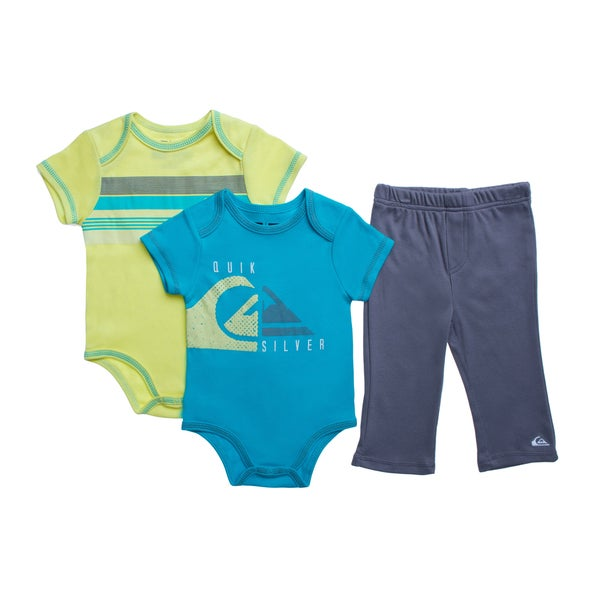 Quicksilver Infant Boys Blue Creepers 3-piece Bodysuit and Pant Set