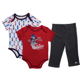 Quicksilver Infant Boys Red Creepers 3-piece Bodysuit and Pant Set