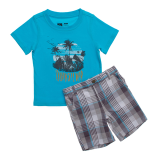 Quicksilver Toddler Boys Light Blue 2-piece Tee and Board Shorts Set