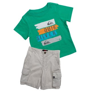 Quicksilver Toddler Boys Green and Grey 2-piece Outfit