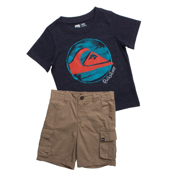 Quicksilver Toddler Boys Blue and Khaki 2-piece Outfit