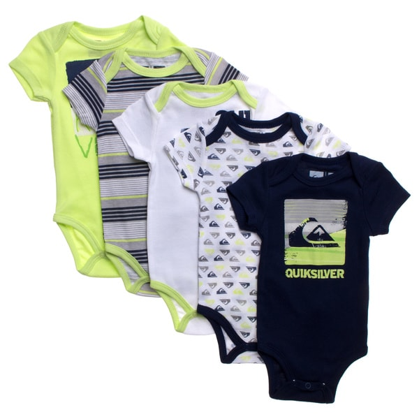 Quicksilver Newborn Boys Green Theme 5-piece Bodysuit Set