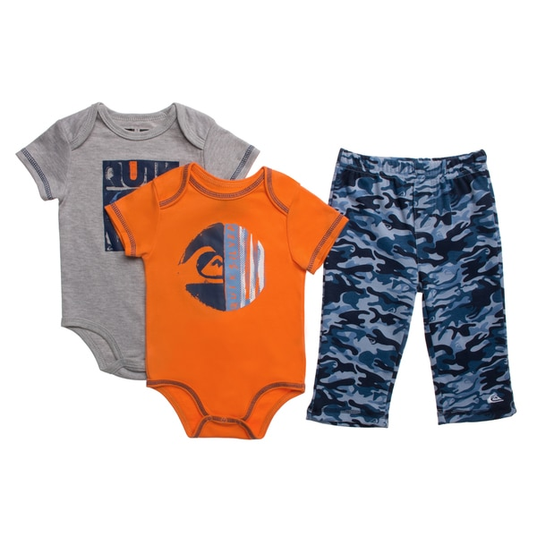 Quicksilver Infant Boys Orange Creepers 3-piece Bodysuit and Pant Set
