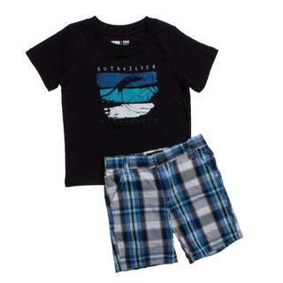 Quicksilver Toddler Boys Black and Blue Plaid 2-piece Outfit