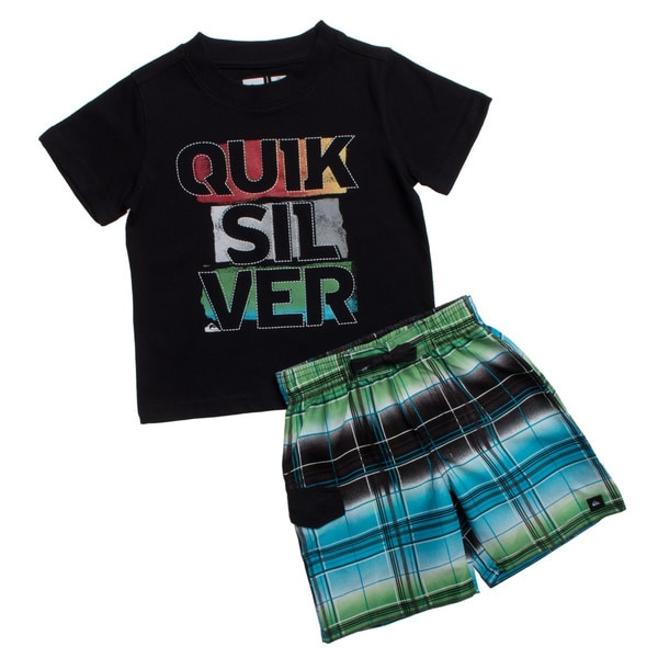 Quicksilver Toddler Boys Black 2-piece Tee and Board Shorts Set