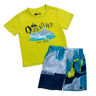 Quicksilver Toddler Boys Green Shark 2-piece Tee and Board Shorts Set