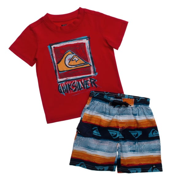 Quicksilver Toddler Boys Red 2-piece Tee and Board Shorts Set