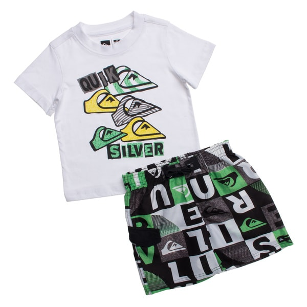 Quicksilver Toddler Boys White and Green 2-piece Outfit